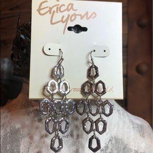 NWT Erica Lyons Chandelier Style Earrings Silver